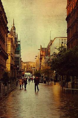 Photograph - Golden Light On Rainy Street Of Glasgow. Scotland by Jenny Rainbow