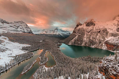 Banff Wall Art - Photograph - Golden Light Over Opabin Lake by David Hua