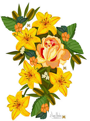 Painting - Golden Lily Flowers With Golden Rose by Anne Norskog