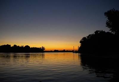 Photograph - Golden Lines River Sunset by Marilyn MacCrakin