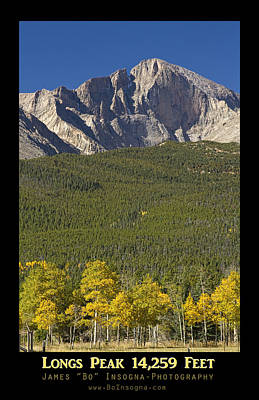 Photograph - Golden Longs Peak 14259 Poster by James BO  Insogna