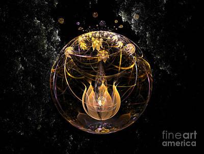 Golden Lotus In Deep Space Art Print by Peter R Nicholls