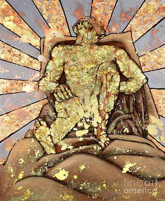 Golden Man On The Precipice Art Print