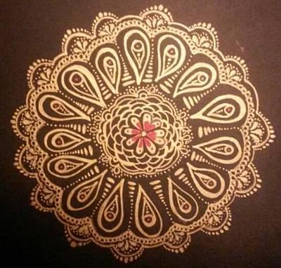 Lori Thompson Drawing - Golden Mandala by Lori Thompson