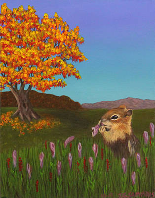 Golden Mantled Squirrel Art Print by Janet Greer Sammons