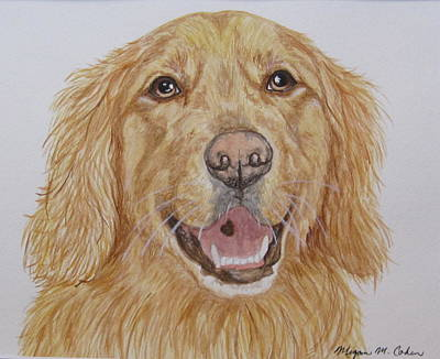 Dog Painting - Golden by Megan Cohen