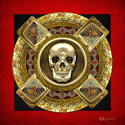 Digital Art - Golden Mictlantecuhtli - Aztec God Of Death by Serge Averbukh