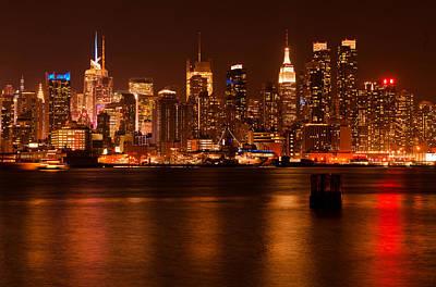 D700 Photograph - Golden New York Skyline by Mitchell R Grosky