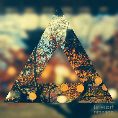 Abstruse Digital Art - Golden Orange Fall Triangle by Beverly Claire Kaiya