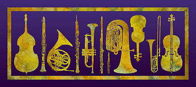 Trombone Digital Art - Golden Orchestra by Jenny Armitage