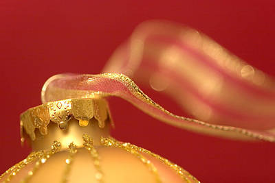 Photograph - Golden Ornament With Striped Ribbon by Carol Leigh