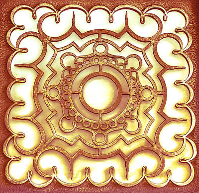 Photograph - Golden Ornamental Design. by Slavica Koceva