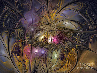 Large Sized Digital Art - Golden Ornamentations-fractal Design by Karin Kuhlmann