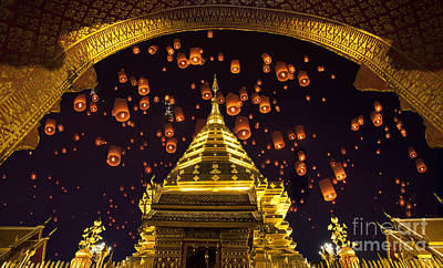 Golden Pagoda And Yeepeng  Art Print by Anek Suwannaphoom