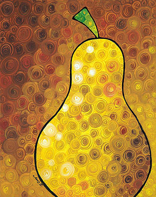 Brown Abstract Painting - Golden Pear by Sharon Cummings