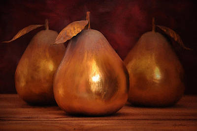 Aged Wood Digital Art - Golden Pears I by April Moen