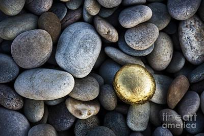 Rock Art Photograph - Golden Pebble by Tim Gainey