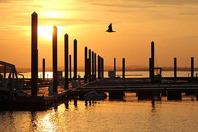 Golden Pier At Sunset Art Print by Patricia Abbate