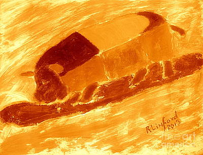 Painting - Golden Pig Surfing Life's Great Wave 2 by Richard W Linford