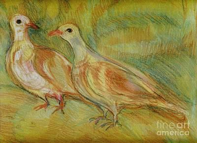 Pastel - Golden Pigeons by Anna Yurasovsky