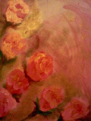 Owls - Golden Pink Roses by Christy Saunders Church