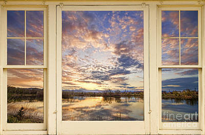 Corporate Art Photograph - Golden Ponds Scenic Sunset Reflections 4 Yellow Window View by James BO  Insogna