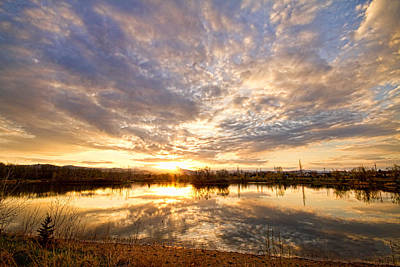 Golden Ponds Scenic Sunset Reflections Art Print by James BO  Insogna