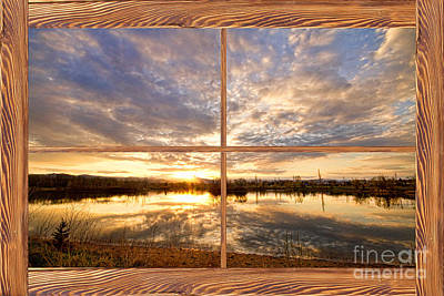 Golden Ponds Sunset Reflections  Barn Wood Picture Window View Art Print by James BO  Insogna