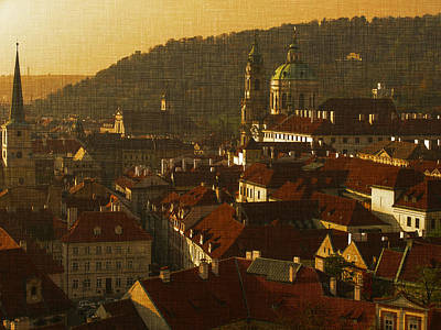 Prague Digital Art - Golden Prague by Katerina Lesslerova