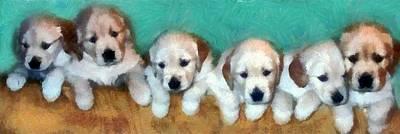 Puppies Digital Art - Golden Puppies by Michelle Calkins