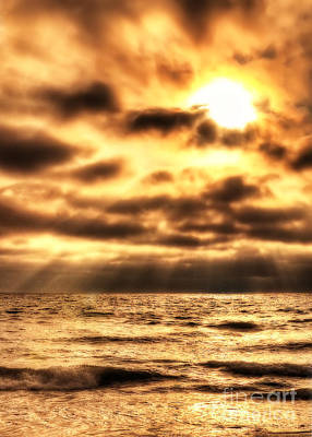 Photograph - Golden Rays On The Ocean by Eddie Yerkish
