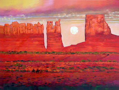 Painting - Golden Red Sunset by John Lautermilch