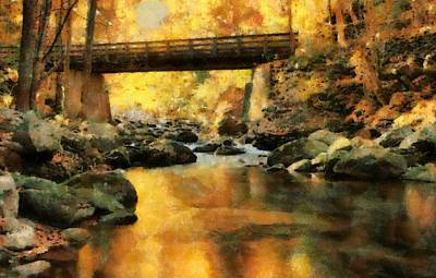 Little Red River Painting - Golden Reflection Autumn Bridge by Dan Sproul