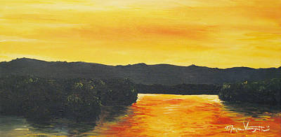 Painting - Golden Reflections by Monica Veraguth