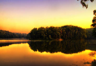 Photograph - Golden Reflections On A Lake by Thomas Woolworth
