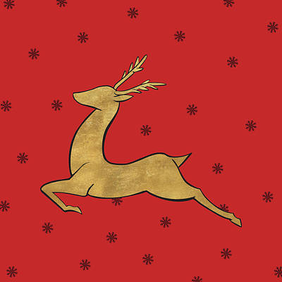 Reindeer Painting - Golden Reindeer On Red by Sd Graphics Studio
