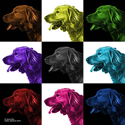 Digital Art - Golden Retriever - 4047 F - M - V1 by James Ahn