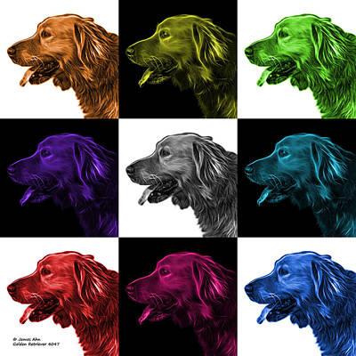Painting - Golden Retriever - 4047 F - M - V2 by James Ahn