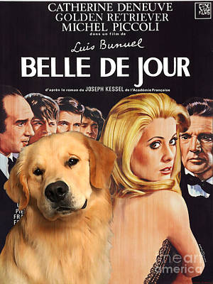 Painting - Golden Retriever Art Canvas Print - Belle De Jour Movie Poster by Sandra Sij