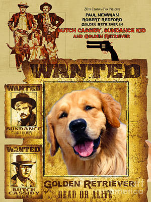 Painting - Golden Retriever Art Canvas Print - Butch Cassidy And The Sundance Kid Movie Poster by Sandra Sij