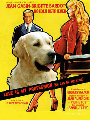 Painting - Golden Retriever Art Canvas Print - Love Is My Profession Movie Poster by Sandra Sij