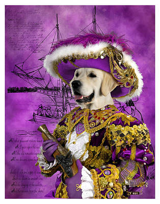Painting - Golden Retriever Art Canvas Print - Pirate by Sandra Sij