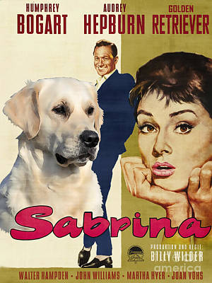 Painting - Golden Retriever Art Canvas Print - Sabrina Movie Poster by Sandra Sij