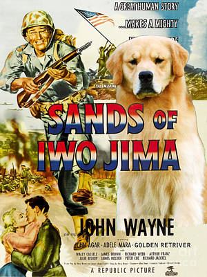 Painting - Golden Retriever Art Canvas Print - Sands Of Iwo Jima Movie Poster by Sandra Sij