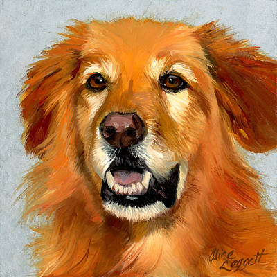Funny Dog Painting - Golden Retriever Dog by Alice Leggett