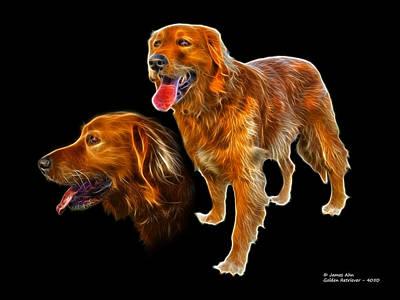 Retrievers Digital Art - Golden Retriever - F - 4050 by James Ahn
