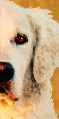 Golden Retriever Half Face By Sharon Cummings Art Print by Sharon Cummings