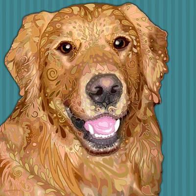 Retriever Digital Art - Golden Retriever by Sharon Marcella Marston