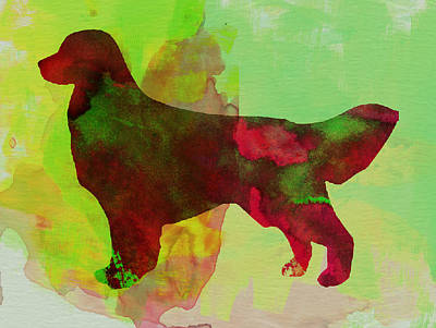 Golden Retriever Watercolor Art Print by Naxart Studio