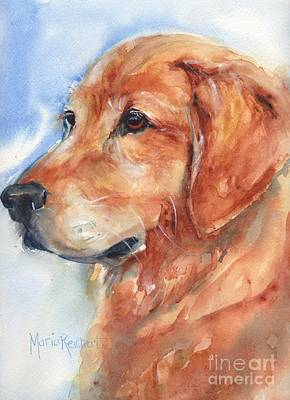 Watercolor Pet Portraits Painting - Golden Retriever Watercolor by Maria's Watercolor